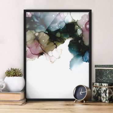 Bild mit Rahmen - Blumenbogen mit Gold - Hochformat