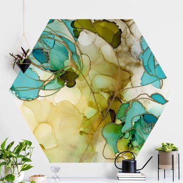 Hexagon Mustertapete selbstklebend - Blumenfacetten in Aquarell