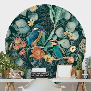 Runde Tapete selbstklebend - Blumenparadies Eisvogel und Kolibri