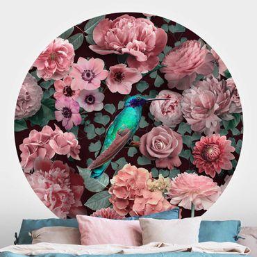 Runde Tapete selbstklebend - Blumenparadies Kolibri mit Rosen