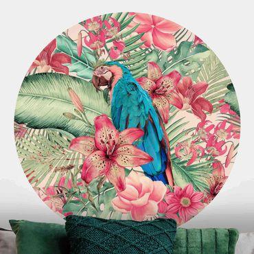 Runde Tapete selbstklebend - Blumenparadies tropischer Papagei