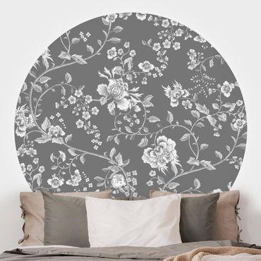 Runde Tapete selbstklebend - Blumenranken auf Grau