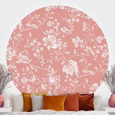 Runde Tapete selbstklebend - Blumenranken auf Orange