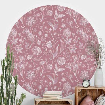 Runde Tapete selbstklebend - Blumentanz auf Altrosa
