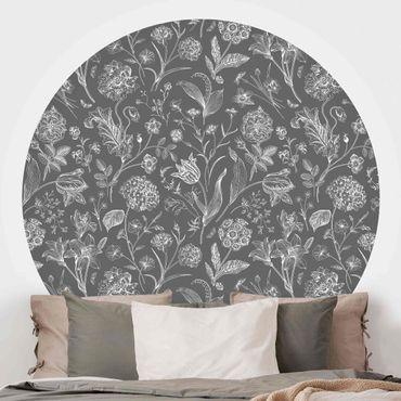 Runde Tapete selbstklebend - Blumentanz auf Grau