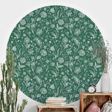 Runde Tapete selbstklebend - Blumentanz auf Grün