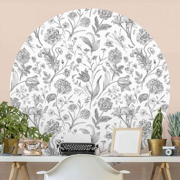 Runde Tapete selbstklebend - Blumentanz in Grau