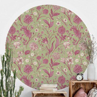Runde Tapete selbstklebend - Blumentanz in Mint-Grün und Rosa Pastell