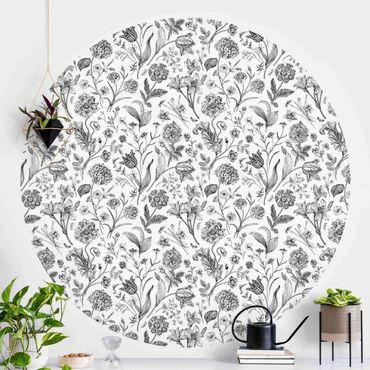 Runde Tapete selbstklebend - Blumentanz in Schwarz