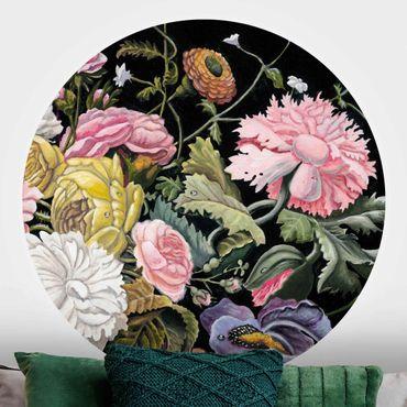 Runde Tapete selbstklebend - Blumentraum Bouquet