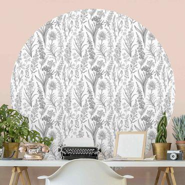 Runde Tapete selbstklebend - Blumenwellen in Grau