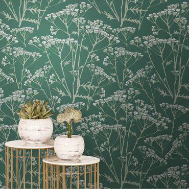 Metallic Tapete  - Blumenwiesen Muster Grün