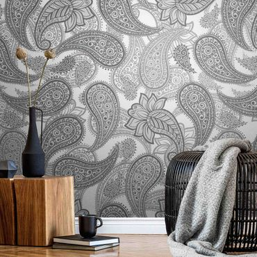 Metallic Tapete  - Boho Mandala Muster in Grau