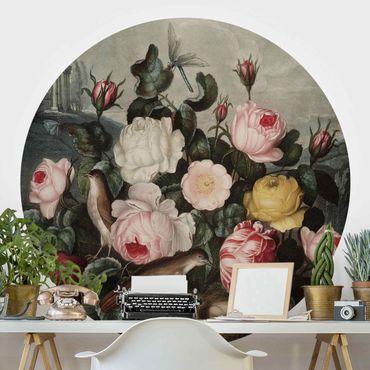Runde Tapete selbstklebend - Botanik Vintage Illustration Rosen