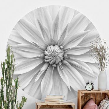 Runde Tapete selbstklebend - Botanische Blüte in Weiß