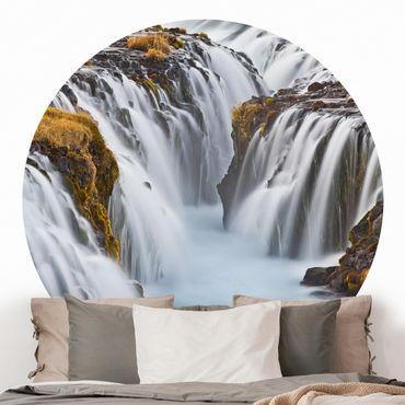 Runde Tapete selbstklebend - Brúarfoss Wasserfall in Island