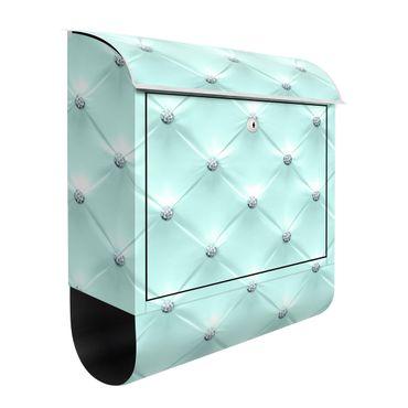 Briefkasten - Diamant Türkis Luxus - Briefkasten mit Zeitungsrolle
