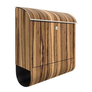 Briefkasten Holz - Schwarze Olive - Holzoptik Wandbriefkasten Braun