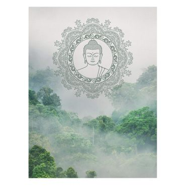 Leinwandbild - Buddha Mandala im Nebel - Querformat 3:4