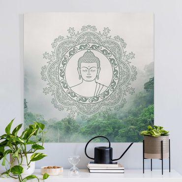 Leinwandbild - Buddha Mandala im Nebel - Quadrat 1:1