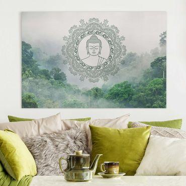 Leinwandbild - Buddha Mandala im Nebel - Hochformat 3:2