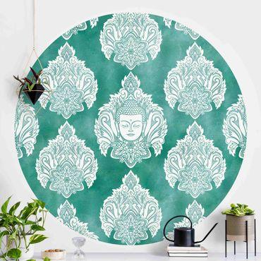 Runde Tapete selbstklebend - Buddha und Lotus Smaragdmuster