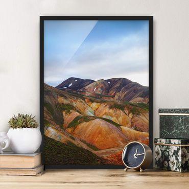 Bild mit Rahmen - Bunte Berge in Island - Hochformat