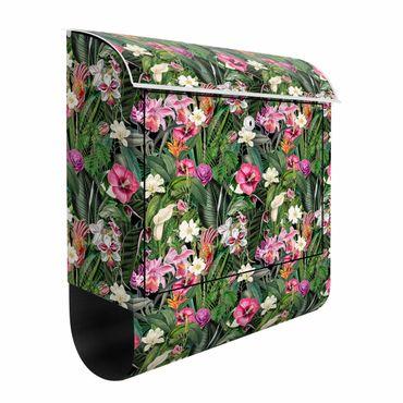 Briefkasten - Bunte tropische Blumen Collage