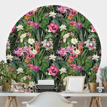 Runde Tapete selbstklebend - Bunte tropische Blumen Collage