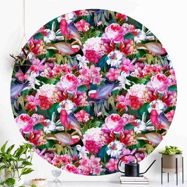 Runde Tapete selbstklebend - Bunte Tropische Blumen mit Vögeln Pink