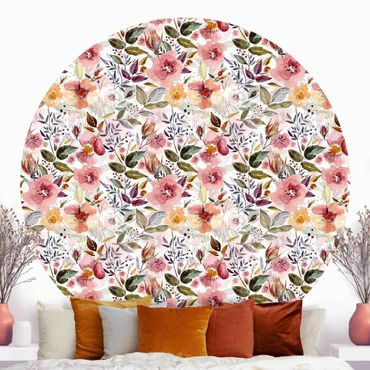 Runde Tapete selbstklebend - Bunter Blumenmix mit Aquarell