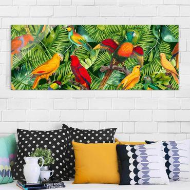 Glasbild - Bunte Collage - Papageien im Dschungel - Panorama