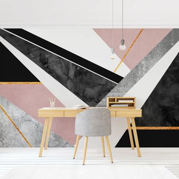 Fototapete - Schwarz Weiß Geometrie mit Gold - Fototapete Quadrat