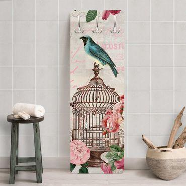 Garderobe - Shabby Chic Collage - Rosa Blüten und blaue Vögel