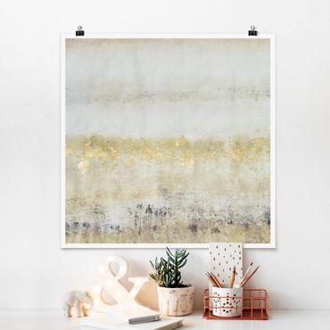 Poster - Goldene Farbfelder I - Quadrat 1:1