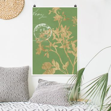 Poster - Goldene Blätter auf Lind II - Hochformat 3:2