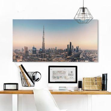 Leinwandbild - Abendstimmung in Dubai - Querformat 1:2