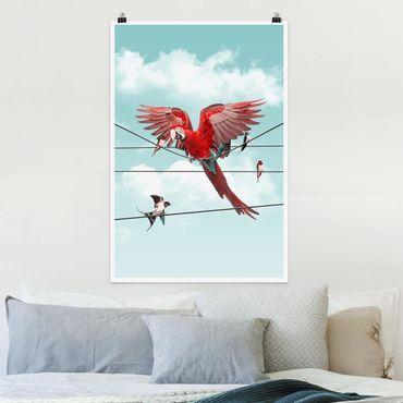 Poster - Jonas Loose - Himmel mit Vögeln - Hochformat 3:2