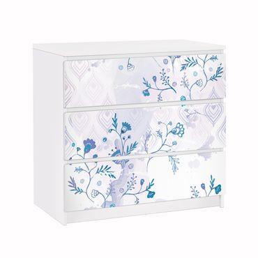 Möbelfolie für IKEA Malm Kommode - Klebefolie Blaues Fantasiemuster