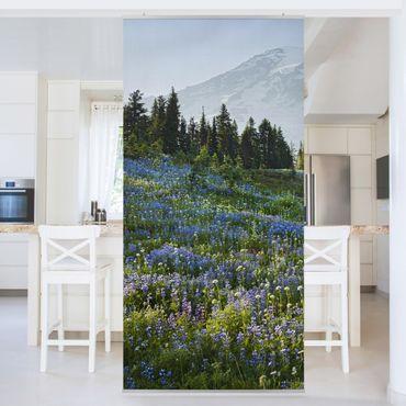 Raumteiler - Bergwiese mit Blumen vor Mt. Rainier 250x120cm