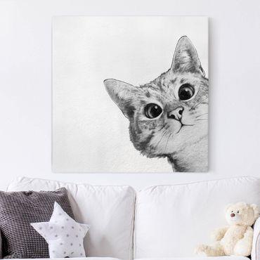 Leinwandbild - Illustration Katze Zeichnung Schwarz Weiß - Quadrat 1:1