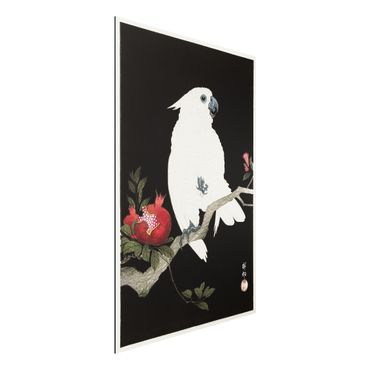 Aluminium Print gebürstet - Asiatische Vintage Illustration Weißer Kakadu - Hochformat 3:2