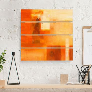 Holzbild - Petra Schüßler - Petra Schüßler - Komposition in Orange und Braun 02 - Quadrat 1:1