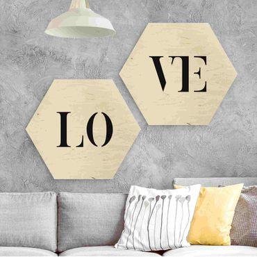Hexagon Bild Holz 2-teilig - Buchstaben LOVE Schwarz Set I