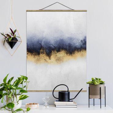 Stoffbild mit Posterleisten - Elisabeth Fredriksson - Wolkenhimmel mit Gold - Hochformat 4:3
