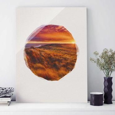 Glasbild - Wasserfarben - Sonnenaufgang am Strand auf Sylt - Hochformat 4:3