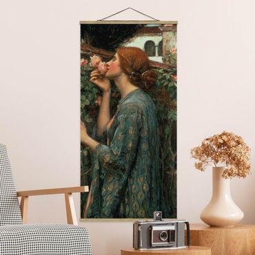 Stoffbild mit Posterleisten - John William Waterhouse - Die Seele der Rose - Hochformat 1:2