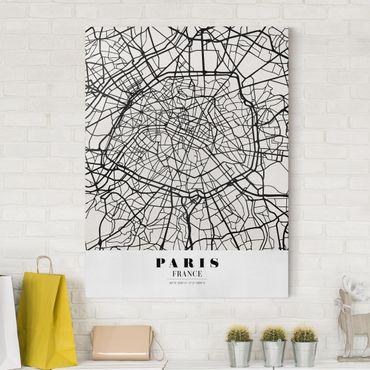 Leinwandbild - Stadtplan Paris - Klassik - Hochformat 4:3