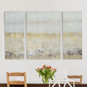 Leinwandbild 3-teilig - Goldene Farbfelder I - Tryptichon