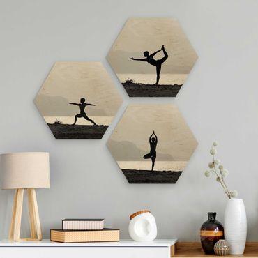Hexagon Bild Holz 3-teilig - Yoga Trio